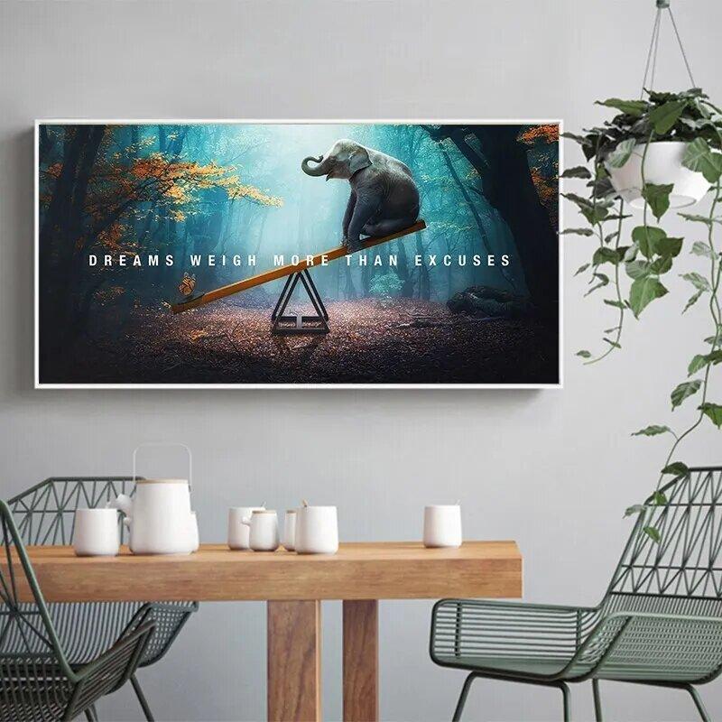 الفيل فراشة قماش المشارك الخيال جدار الفن اللوحة الشمال الملصقات و يطبع جدار صور لغرفة المعيشة ديكور المنزل