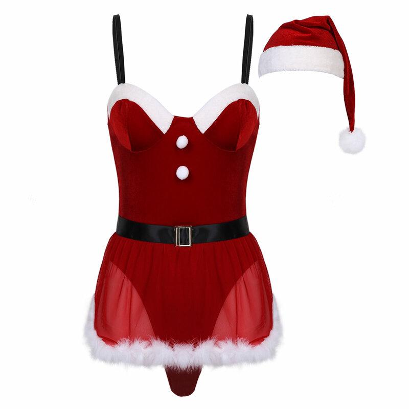 بدلة نسائية لعيد الميلاد على شكل يوتار مناسبة للارتداء في الملهى بدلة مخملية عليها ريش للتزيين بدلة للقبعة