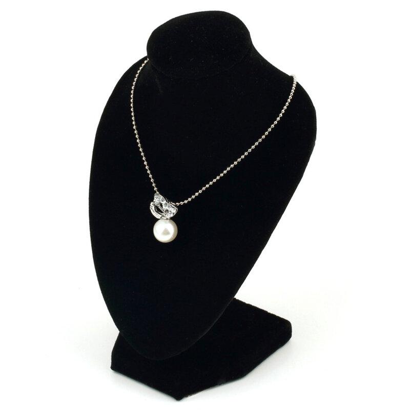 مانيكان أسود مخملي على شكل قلادة ، عرض مجوهرات ، حامل سوار ، منظم مجوهرات ، 15 × 10 سنتيمتر