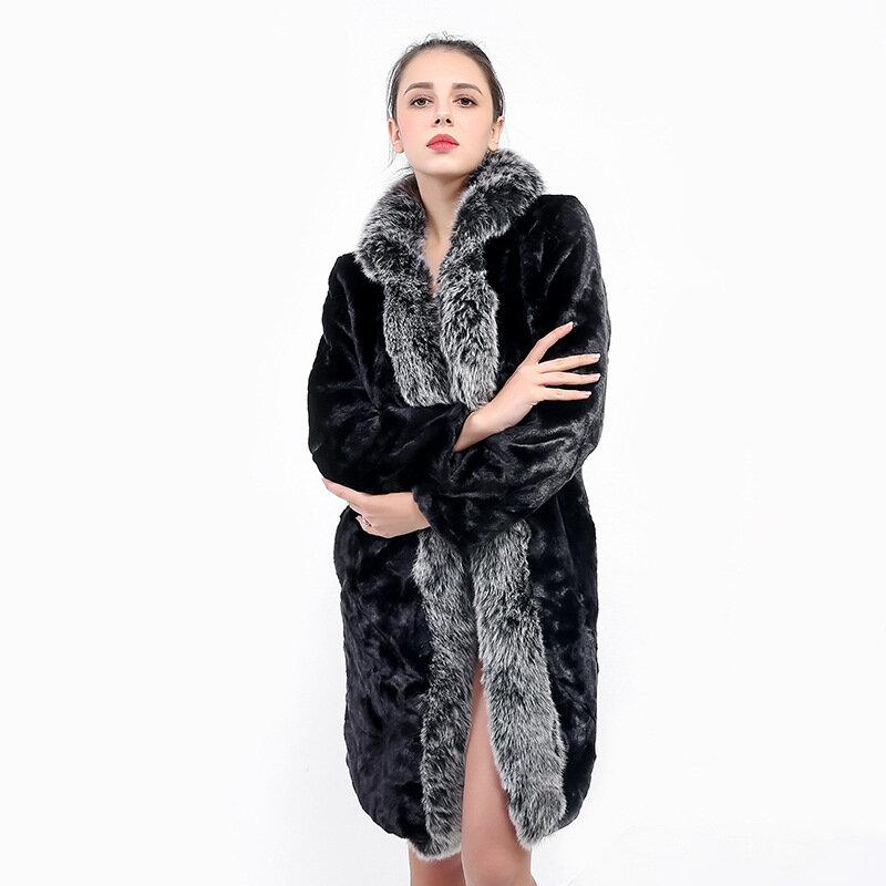 TRODEAM 2021 الأوروبية والأمريكية فو الفراء سترات المرأة موضة كبيرة ومريحة كبير الثعلب الفراء قطعة واحدة الفراء معاطف