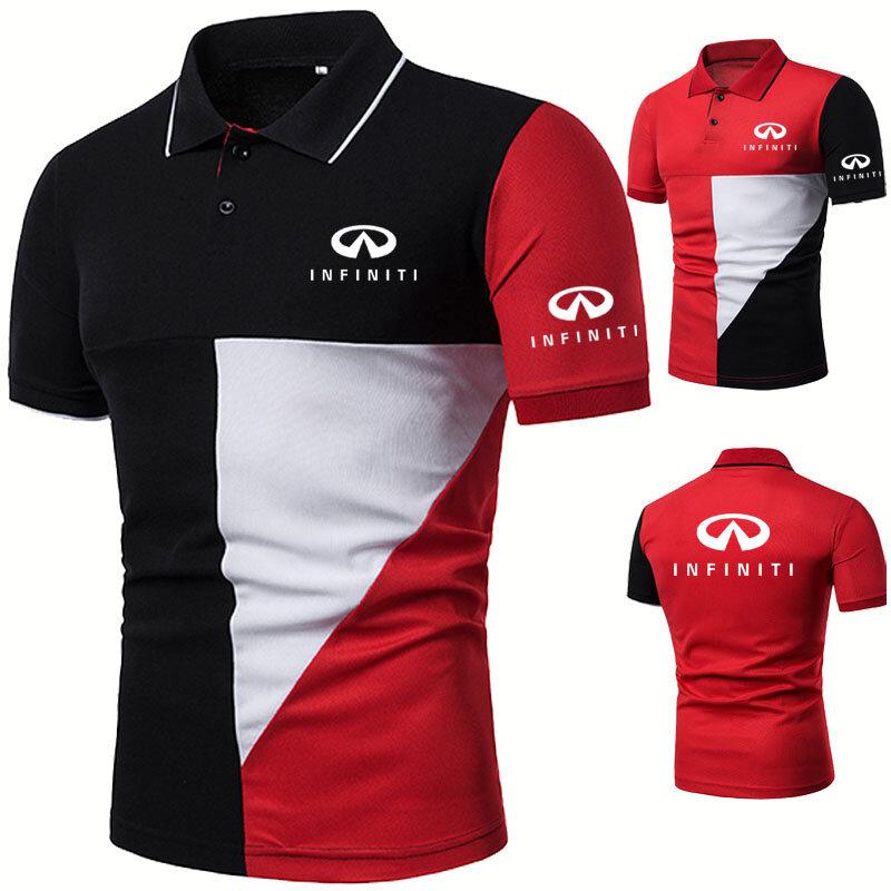 موضة جديدة الرجال قميص بولو إنفينيتي شعار سيارة الطباعة الصيف عالية الجودة القطن الهيب هوب التلبيب كم قصير الرجال بلايز