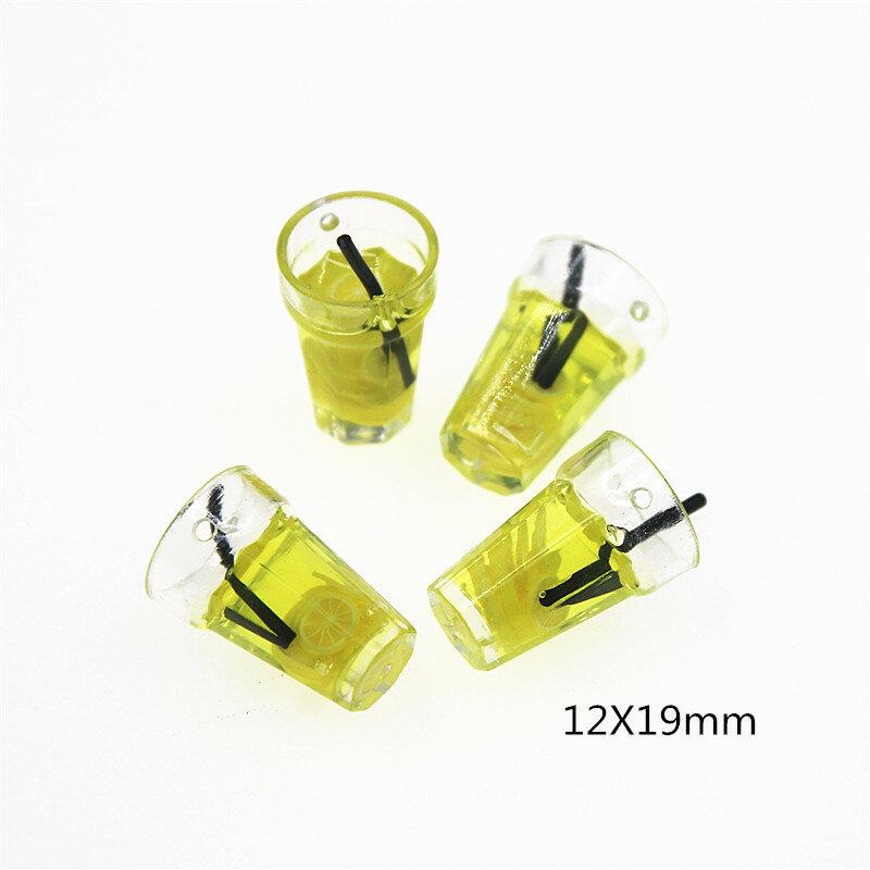 10 قطعة محاكاة الراتنج ثلاثية الأبعاد عصير كوب بقشة مع ثقب مصغر كابوشون مصغرة الغذاء الفن التموين الديكور الحرفية السحر