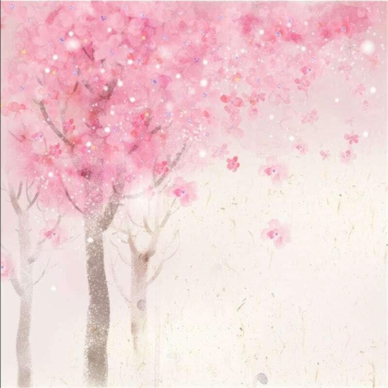 Wellyu مخصص رسمت باليد المائية زهر الكرز الشمال رومانسية زهر الكرز الغابات غرفة المعيشة خلفية خلفية