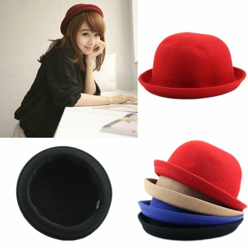 Vogue رواج السيدات النساء الرجال للجنسين Vintage الصوف الرامي ديربي قبعة قبعة