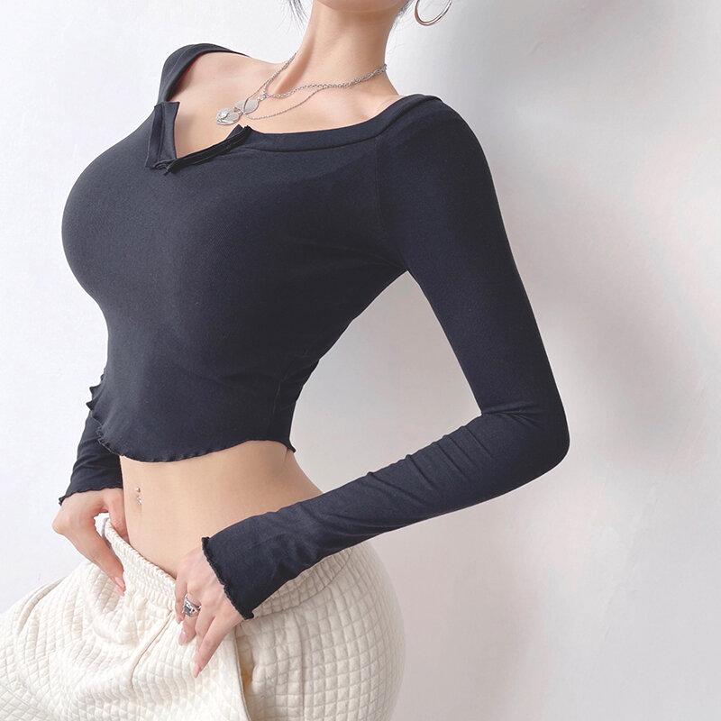 Choc فتاة ضيق سترة رياضية علوية المؤنث قصيرة بأكمام طويلة ملابس لليوجا التجفيف السريع الترفيه التدريب اللياقة البدنية الملابس الخريف