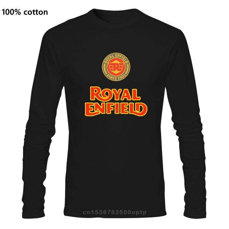 رويال إنفيلد دراجة نارية شعار رجل قميص أسود (1)