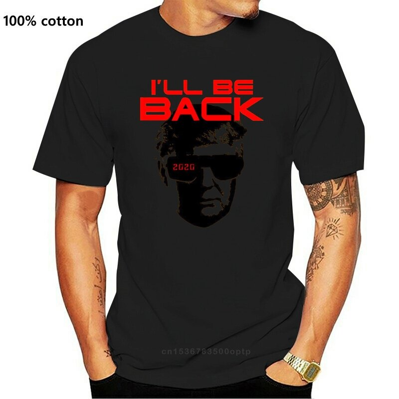 جديد قميص دونالد ترامب ماركة Ill Be Back T-Shir المنهي 2021 باللون الكحلي والأصفر المضحك 2021 تي شيرت رائع غير رسمي للرجال والنساء للجنسين
