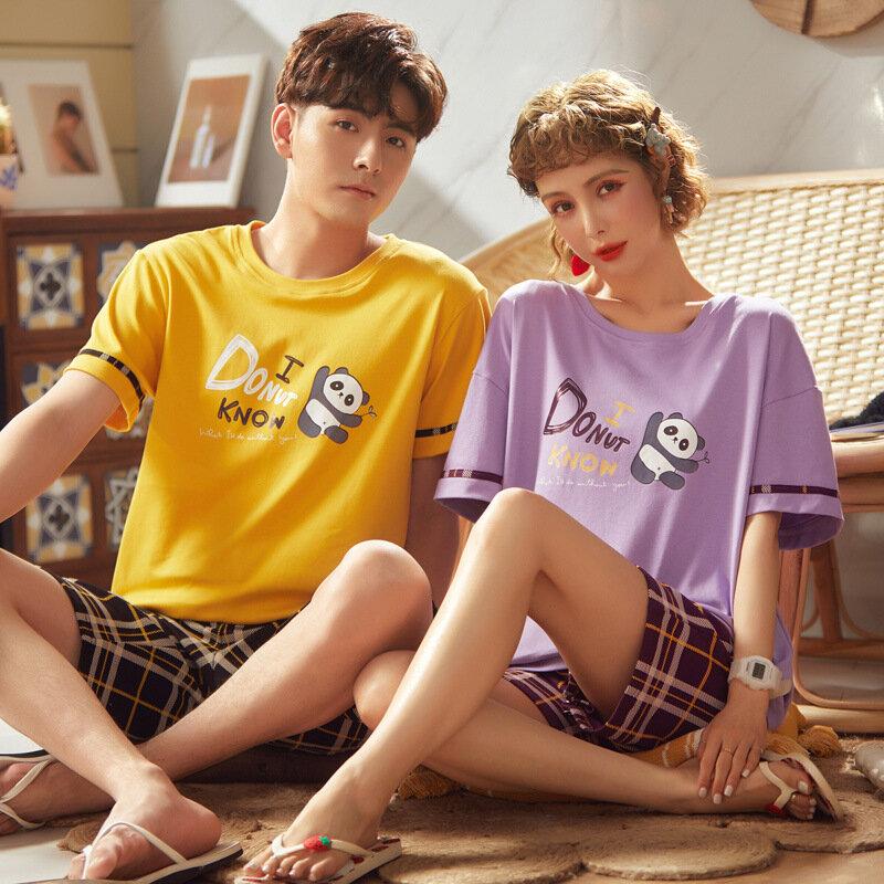 زوجين منامة الإناث الصيف القطن قصيرة الأكمام السراويل قطعتين دعوى رقيقة حجم كبير ملابس كاجوال للرجال