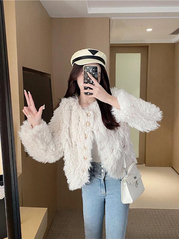 Lanlin-معطف فرو نسائي ، معطف جسم واحد ، جاكيت خارجي متعدد الاستخدامات ، خريف وشتاء