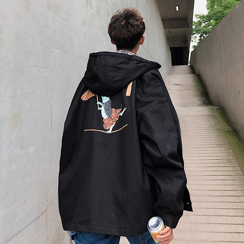 2020 جديد البلوز الرجال الشارع طويلة الأكمام فضفاضة سترة معطف اليابان نمط الكرتون المطبوعة مقنعين سستة الذكور أبلى M-2XL