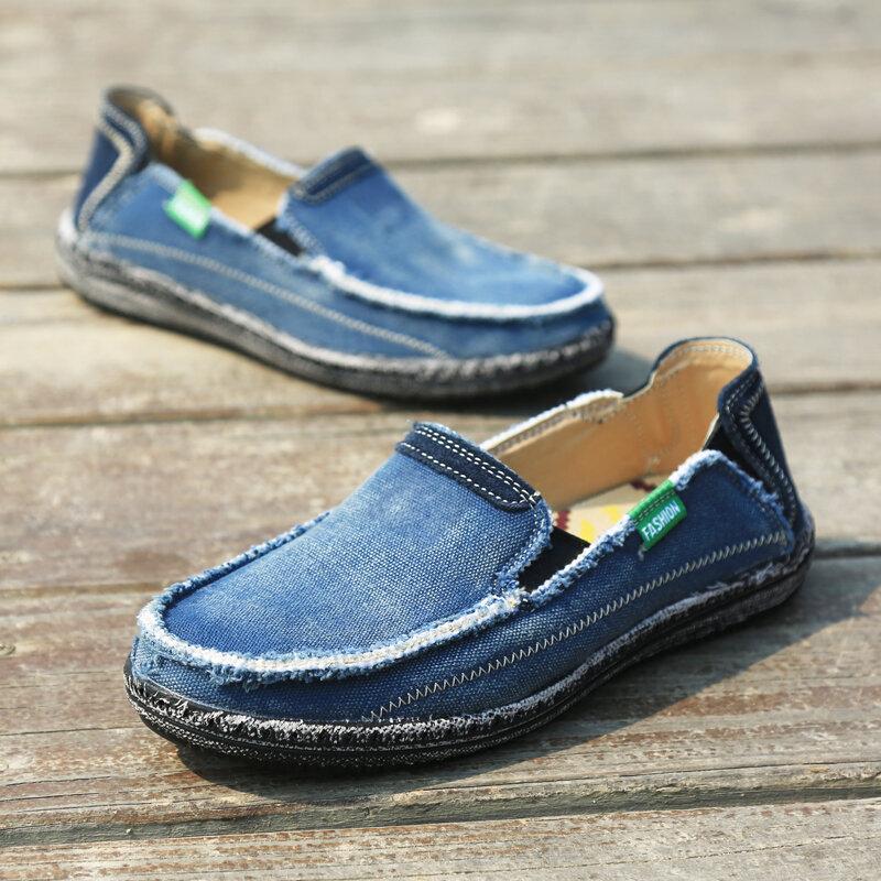 2020 الصيف قماش أحذية رجالي تنفس أحذية قيادة عادية سهلة لارتداء حذاء مسطح الرجال لينة كبيرة الحجم المتسكعون