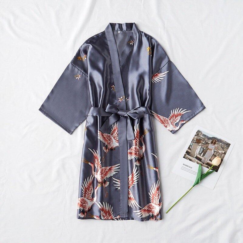 موضة الحرير رداء الإناث Bathrobe مثير peignoir فام الحرير كيمونو العروس روب للنوم النوم ليلة تنمو للنساء
