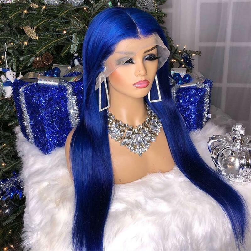 الأزرق الداكن الاصطناعية الدانتيل الجبهة الباروكات حريري مستقيم مع شعر الطفل قبل قطعها شعر مستعار الدانتيل الألياف الشعر الجزء الأوسط