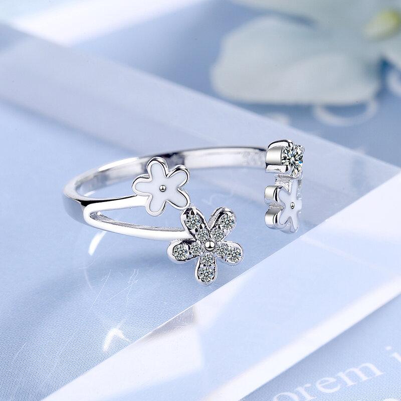 925 خاتم فضة زهرة صغيرة مفتوحة الدائري Ins نمط ديزي الدائري لفتاة مجوهرات هدية بالجملة