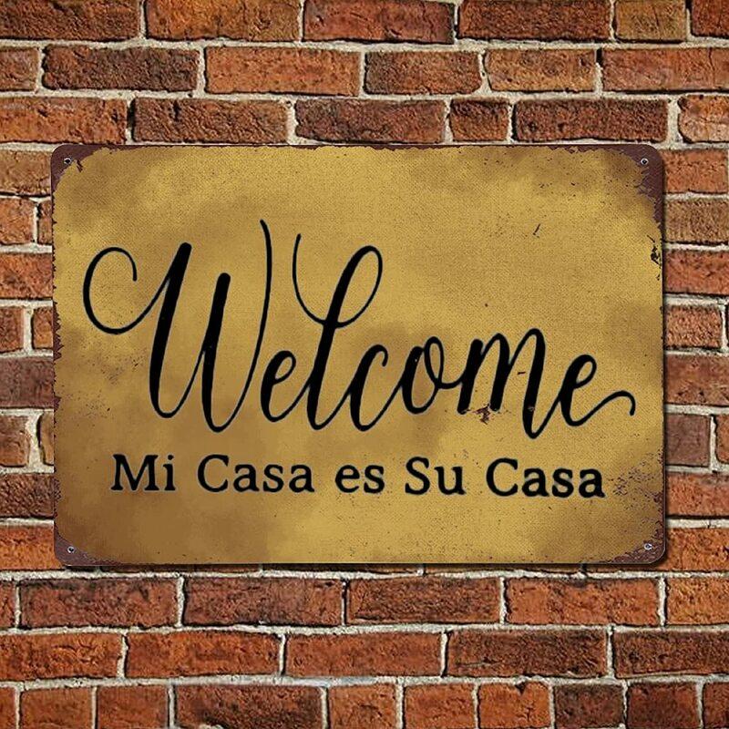 الجدار الديكور بار بيسترو نادي نادي لوحة معدنية المشارك 12*8 بوصة ترحيب Mi Casa Es سو كازا تين تسجيل علامات جدار معدني