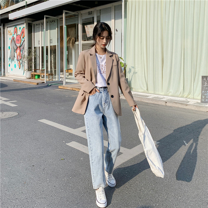 جديد شيك بلون المرأة سترة عادية مكتب سيدة جيوب بدلة عمل معطف السيدات الأعمال بلازير ملابس خارجية