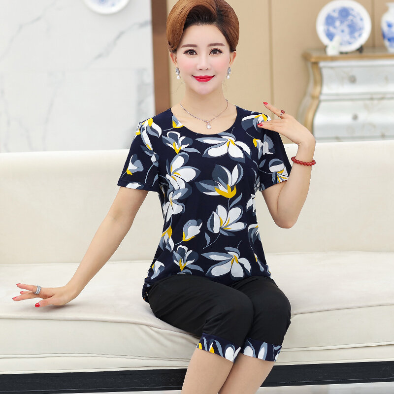 كبيرة الحجم المرأة 2 قطعة مجموعة جديدة فضفاضة طباعة قصيرة الأكمام قمم تي شيرت السراويل منتصف العمر الأم الصيف دعوى حجم كبير 5XL