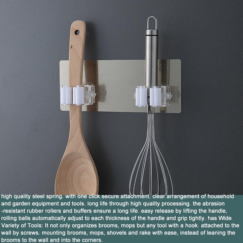 مزدوجة هوك مكنسة حامل ممسحة هوك الذاتي لاصق متعددة الأغراض السنانير الحائط ممسحة رف تخزين منظمة شماعات هوك Kitch