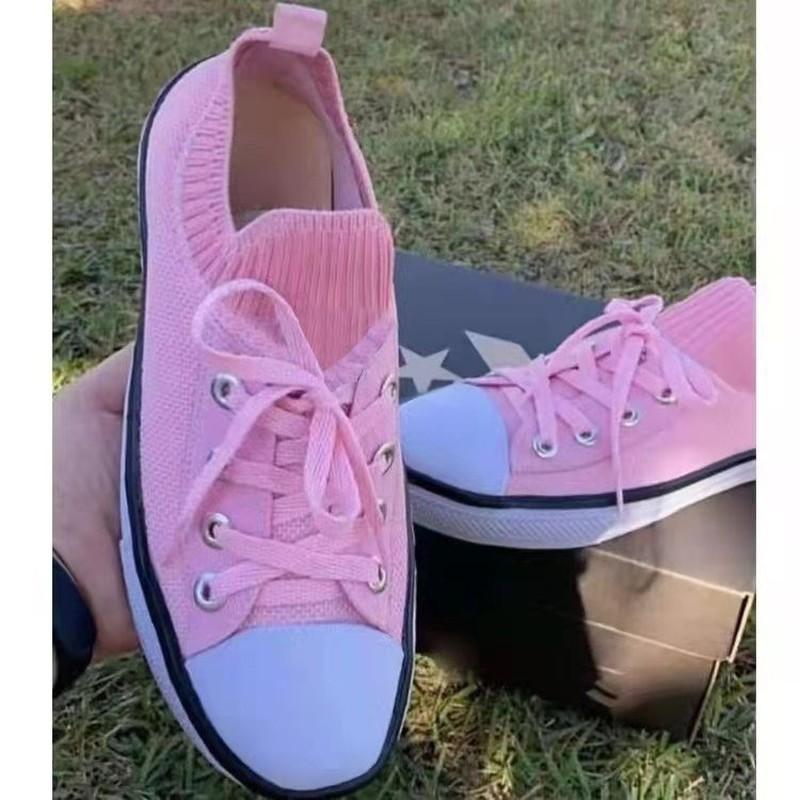 ربيع الخريف المرأة عادية لينة سوليد جولة تو حك تمتد حذاء أبيض أزياء من الدانتل متابعة حذاء قماش حجم كبير 43 Zapatos Mujer