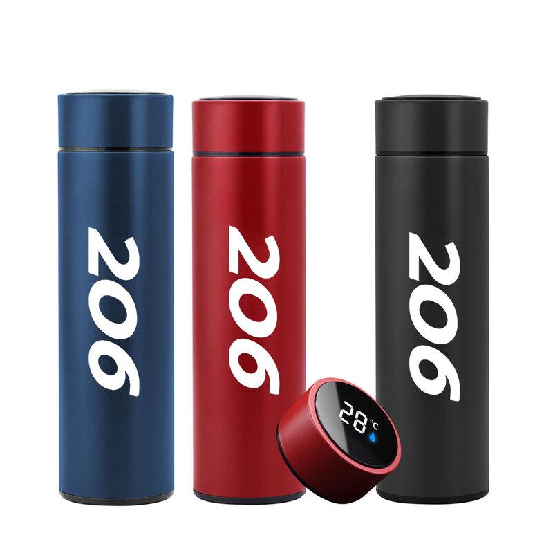 قوارير فراغ مع شعار لبيجو 206 Led درجة الحرارة الرقمية عرض الفولاذ المقاوم للصدأ العزل أكواب كوب حراري ذكي