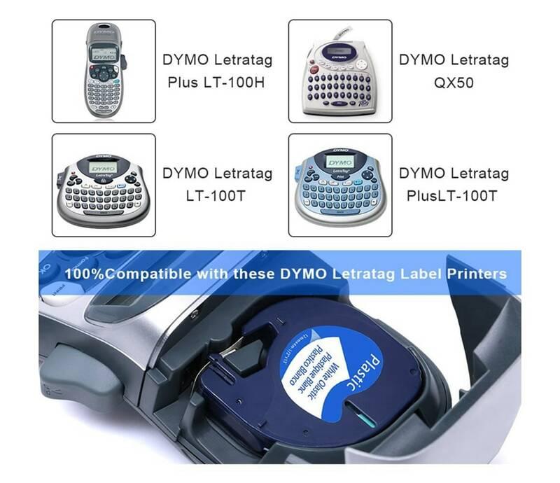 20PK 91201 12267 91200 متوافق مع أشرطة التسمية DYMO LetraTag أسود على أبيض 16951 91203 شريط لاصق من البلاستيك ل LT-100H LT-100T