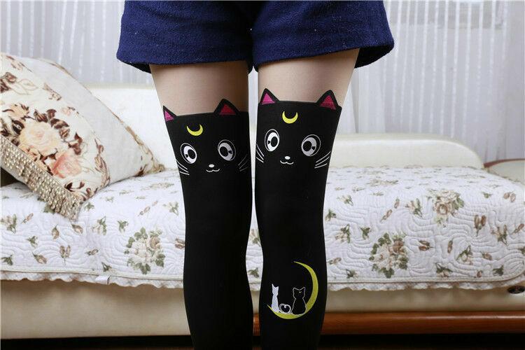 النساء الصلبة ColorsFashion مثير القط جوارب الدافئة الفخذ العليا جوارب فوق جوارب طويلة جوارب طويلة للفتيات السيدات 1Pair