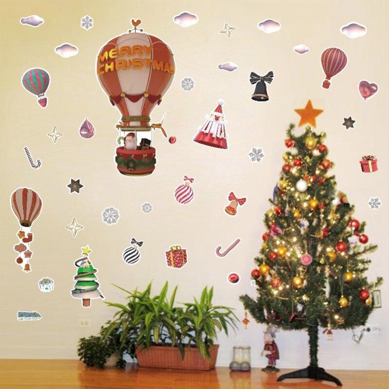 عيد الميلاد الديكور ملصقات جدار بالون الهواء الساخن ندفة الثلج شجرة عيد الميلاد نمط ملصقات غرفة المعيشة المنزلي مول للتسوق ديكور