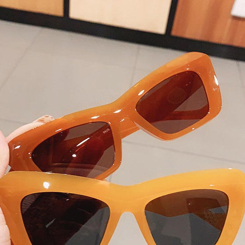 موضة جديدة Vintage النظارات الشمسية النساء العلامة التجارية مصمم ريترو مستطيل نظارات شمسية Ins الإناث شعبية الملونة مربع النظارات