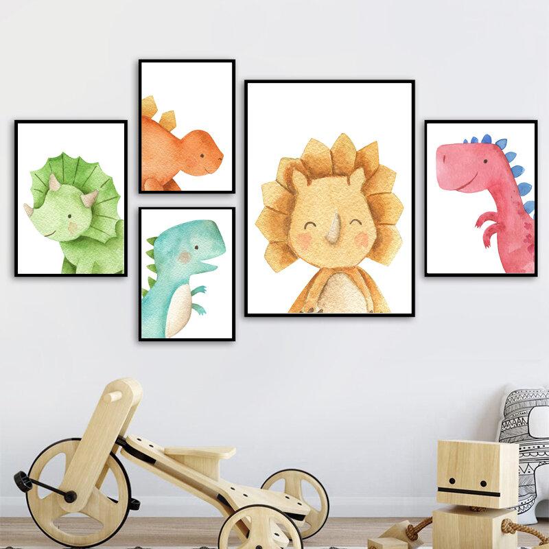 الشمال لطيف الكرتون الحيوان ديناصور قماش اللوحة الطباعة جدار صورة فنية ملصق للطفل طفل الأطفال غرفة نوم ديكور المنزل