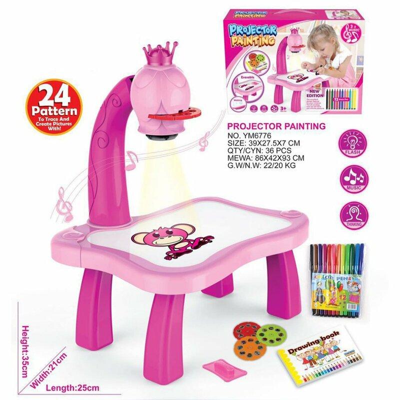 طاولة تعليمية للأطفال مع جهاز عرض ذكي للأطفال لعبة طاولة اللوحة مع ضوء الأطفال أداة تعليمية طاولة رسم