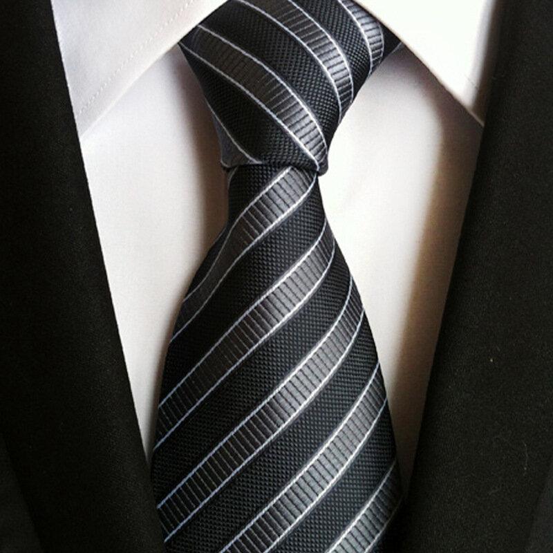 Linbaiway-ربطة عنق رجالية من البوليستر ، 8 سنتيمتر ، منسوج ، عصري ، لحفلات الزفاف ، والأعمال ، وشعار مخصص غير رسمي
