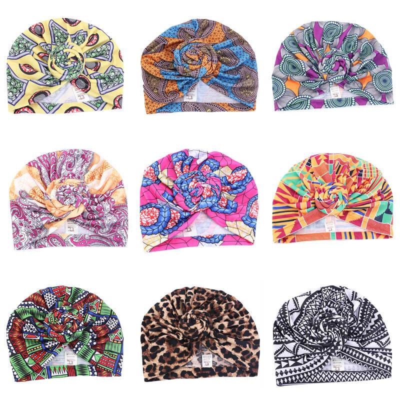 عمامة مطبوعة بالزهور للطفلة ، قبعة قطنية للأطفال الصغار ، هدية للأطفال ، غطاء شعر هندي