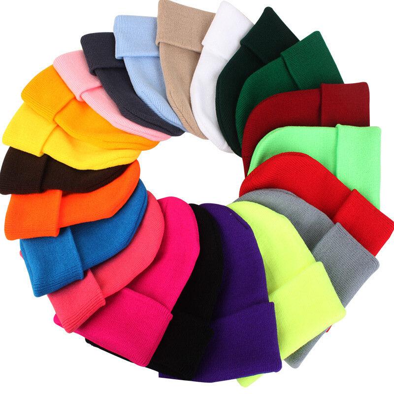 قبعة هيب هوب دافئة وناعمة محبوكة للنساء والرجال ، قبعة تزلج للجنسين ، سادة ، بدون حدود ، فلورسنت ، 24 لونًا