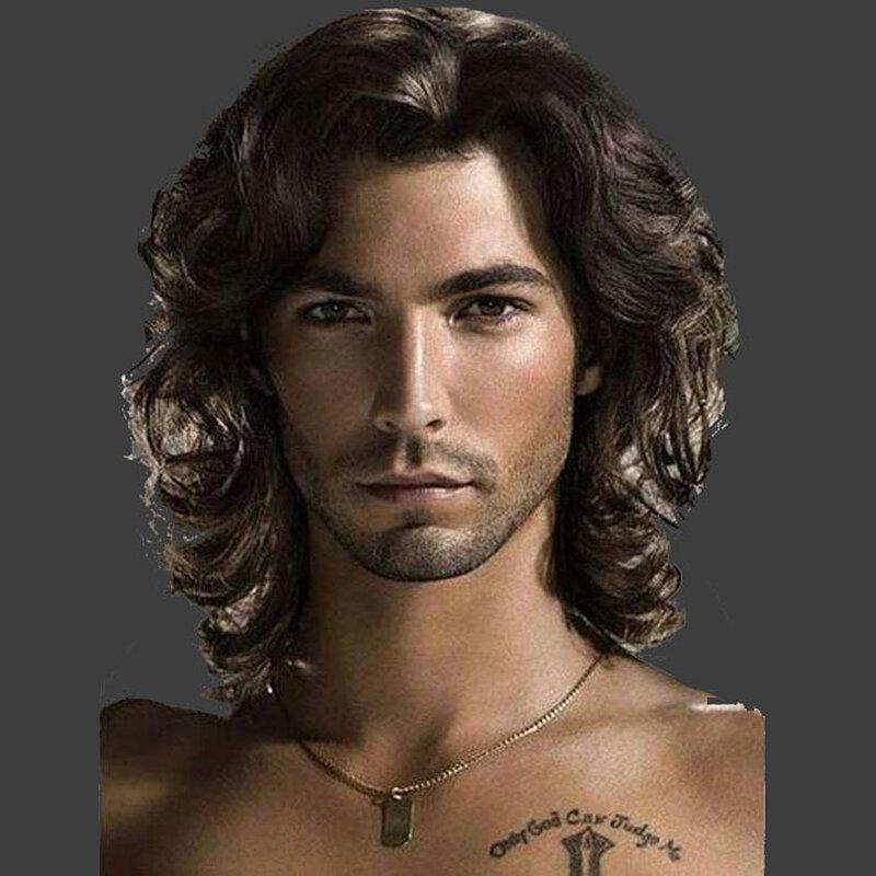الكتف legnth الرجال الباروكات مجعد الطبقات الاصطناعية مقاومة للحرارة شعر قصير موجة رقيق شعر مستعار طبيعي للرجال الاستخدام اليومي