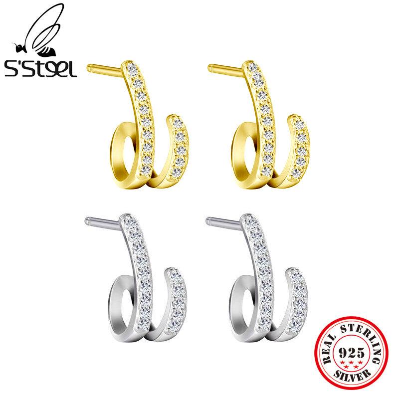 أقراط من الفضة الإسترليني S'STEEL عيار 925 للنساء أقراط من الزركون بسيطة الشكل إكسسوارات شخصية أقراط من المجوهرات الراقية