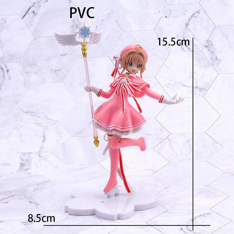 16 سنتيمتر أنيمي جميل بطاقة الآسر البلاستيكية نماذج عمل الشكل Cardcaptor عصا سحرية الفتيات كعكة الديكور الشكل لعب طفل هدية