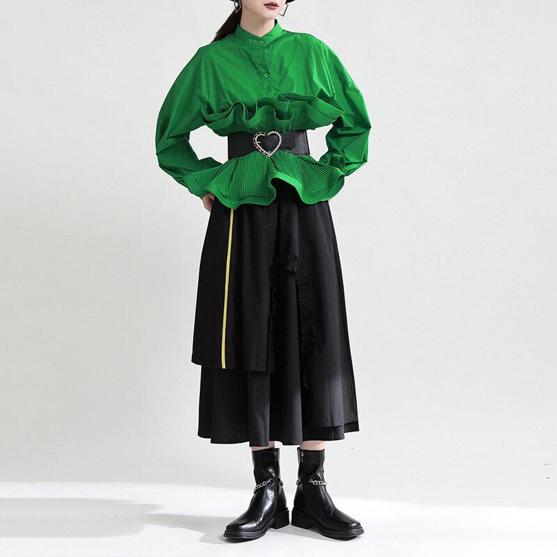 [EAM] مرونة عالية الخصر أسود اللون كتلة طويلة غير النظامية نصف الجسم تنورة المرأة الموضة المد جديد ربيع الخريف 2021 1DE3666
