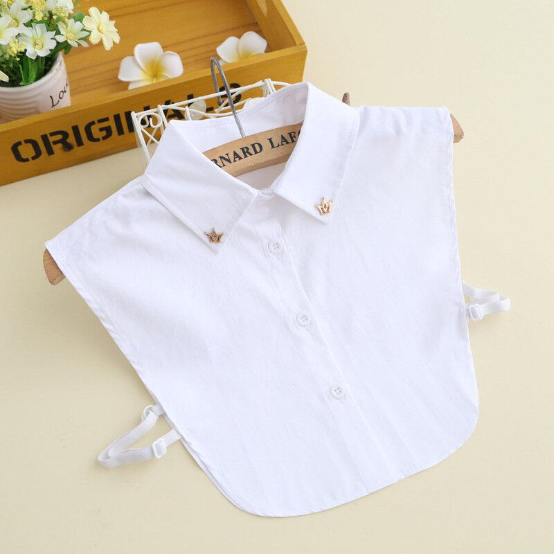 قميص القطن طوق وهمية للنساء قميص انفصال الياقات التلبيب بلوزة سترة بدوره أسفل الياقات كاذبة برقبة الإناث ديكور