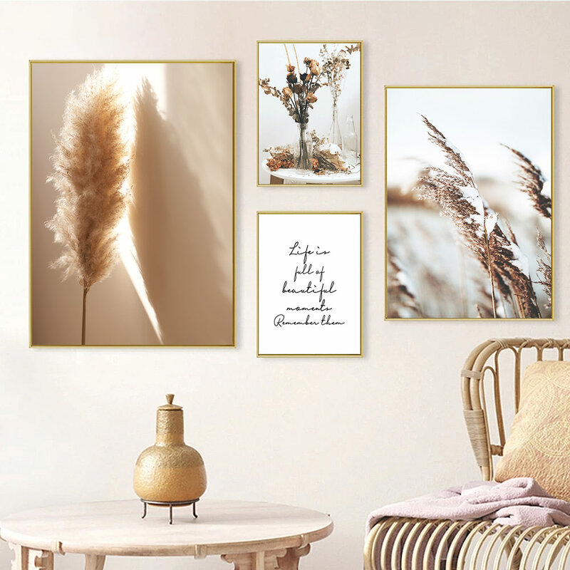 النباتات المجففة زهرة الرسم على لوحات القماش الجدارية ريد الهندباء المشارك الحبوب من الرمال طباعة الشمال جدار صور غرفة المعيشة ديكور