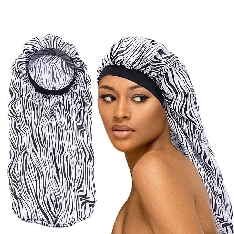 المرأة مطاطا طويل الساتان بونيه مطبوعة مطاطا طويل الشعر غطاء النوم طويل أسطواني الكيماوي السرطان قبعة الجمال العناية بالشعر قبعة