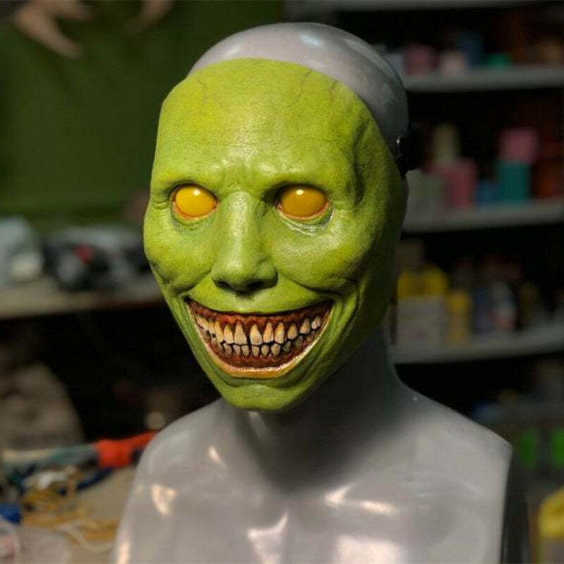 مخيف هالوين قناع يبتسم الشياطين الرعب أقنعة الوجه الشر تأثيري ملابس تنكرية للحفلات الدعائم عطلة الديكور مهرجان الهدايا