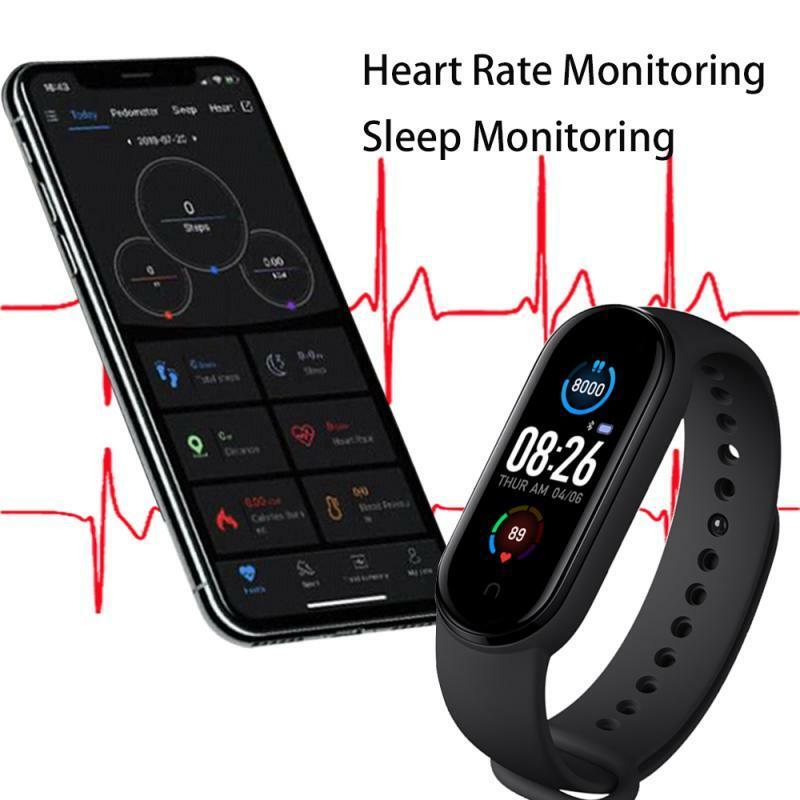 M5 اللياقة البدنية سوار مقاوم للماء ساعة ذكية عداد الخطى ضغط الدم معدل ضربات القلب الصحة رصد بلوتوث معصمه ل شاومي