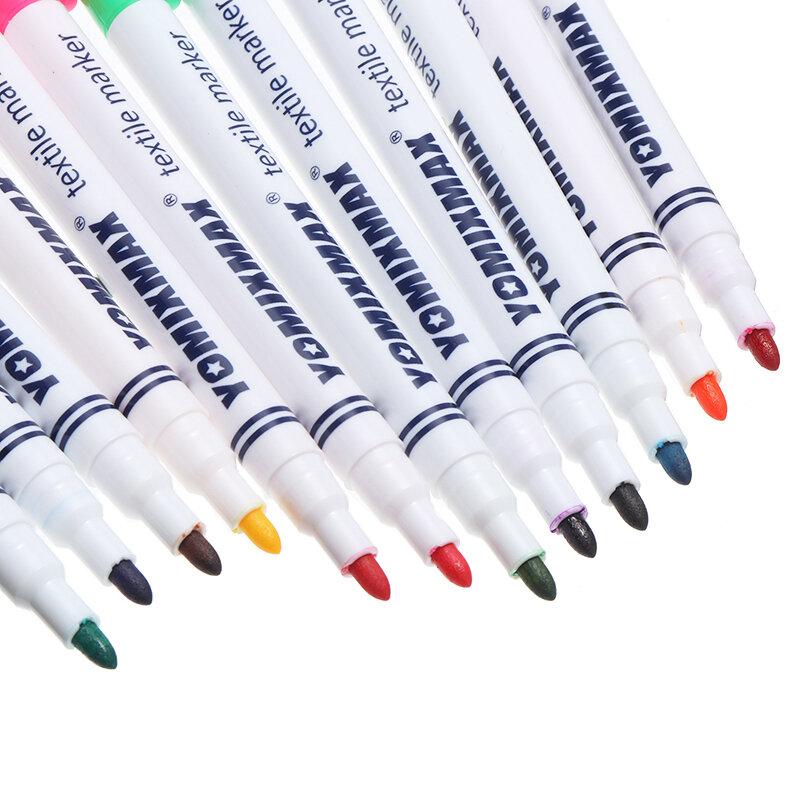12 قطعة/مجموعة الملونة النسيج اللوحة ماركر الدائم النسيج أقلام ل تي شيرت الملابس DIY تصميم المدرسة الأطفال اللوحة أداة