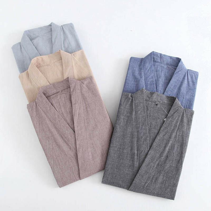 رجل الياباني كيمونو منامة الدعاوى الذكور رداء ثوب 2 قطعة/المجموعة صالة البشكير ملابس خاصة فضفاضة رجل القطن مريحة منامة هومبر
