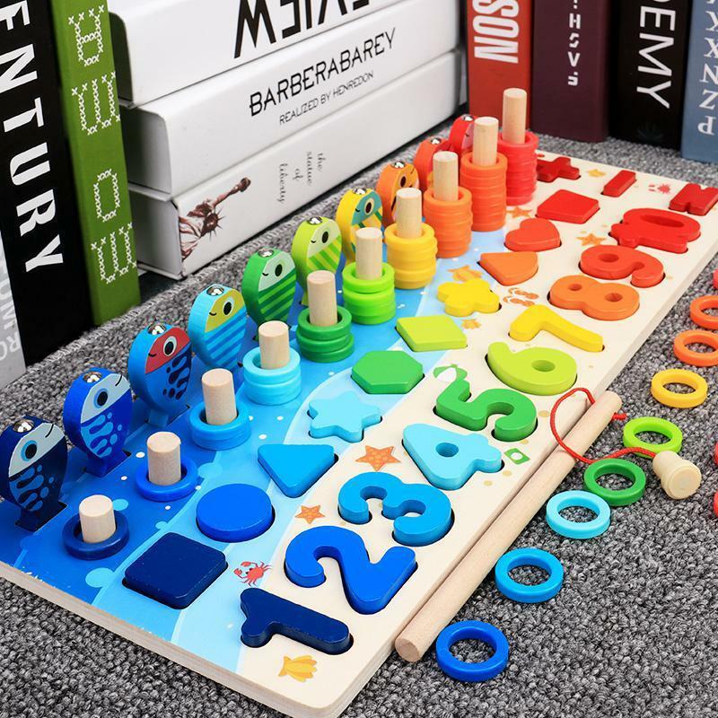 مونتيسوري ألعاب خشبية تعليمية للأطفال مشغول مجلس الرياضيات الصيد للأطفال خشبية مرحلة ما قبل المدرسة لعبة مونتيسوري العد الهندسة