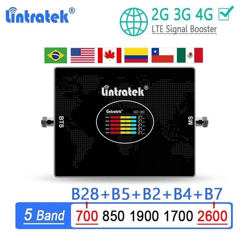 Lintratek 5 الفرقة 2 جرام 3 جرام 4 جرام مكبر صوت أحادي B28 700 850 1700 1900 B7 2600 الخلوية مكرر الهاتف المحمول الداعم الإنترنت LTE AWS