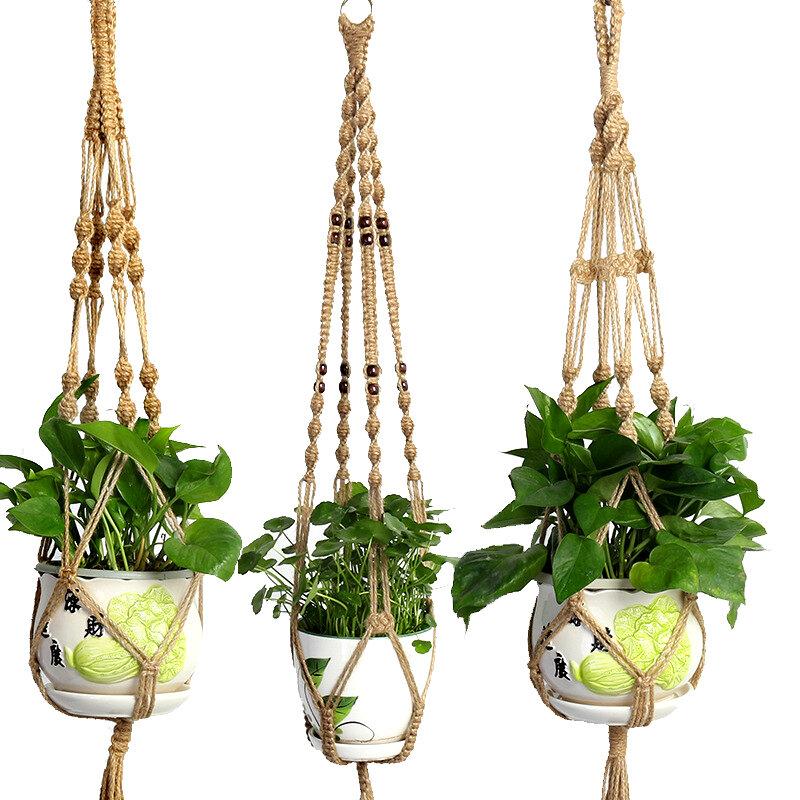 المنسوجة يدويا حبل القنب مكرامية مصنع شماعات الزهرية نبات معلق وعاء حامل للجدار الديكور لوحات حديقة سلة معلقة