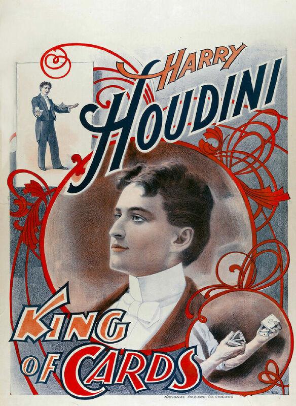 Houdini ملك البطاقات 1895 كبير معدن القصدير تسجيل ملصق جدار اللوحة