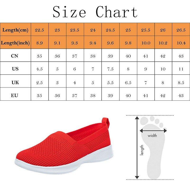 2021 الصيف النساء أحذية الحياكة جورب المرأة أحذية رياضية خفيفة الوزن شقة حجم كبير يطير المنسوجة أحذية نسائية رياضية غير رسمية المتسكعون