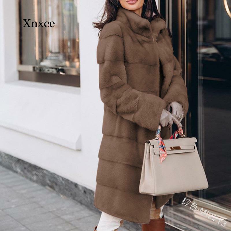 حجم كبير أوروبا وأمريكا متوسطة طويلة القسم الصلبة فضفاض أفخم معطف مقنع فو الفراء الشتاء النساء سترة دافئة معطف